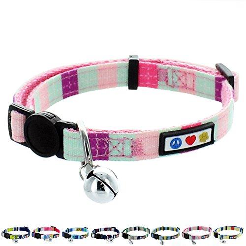 PAWTITAS Mehrfarbiges Haustier- und Katzenhalsband mit Sicherheitsschnalle and Abnehmbarer Glocke Katzenhalsband Kätzchenhalsband Blaugrün/Rosa / Lila Katzenhalsband