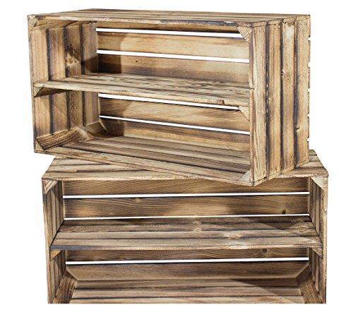 2er Set große geflammte Holzkiste mit Mittelbrett für Schuh und Bücher - flambierte Obstkiste mit...