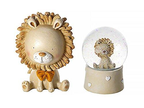 Löwen Baby Spardose und Musik Schneekugel für Neugeboren Baby Taufe Babyshower Jungen und Mädchen Geschenk Set Taufe Boy Music Box