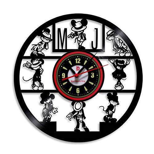 Meet Beauty Ding Niedliche Mickey Mouse Disney Karikatur Vinyl Record Wanduhr kreative Kinderzimmer Kunst Dekor - einzigartige handgefertigte Geschenkidee für Jungen Mädchen Halloween Weihnachten