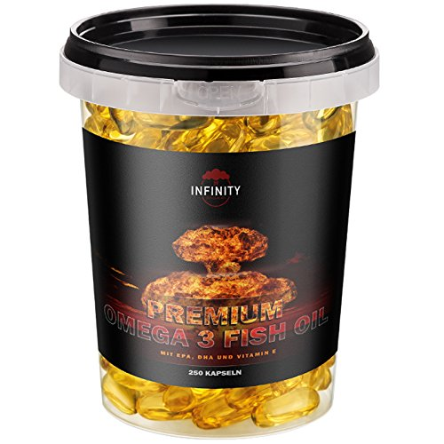 Calcium Liquid Softgel (Premium Omega 3 Fish Oil, 250 Kapseln, Hochdosiert - 1000mg Lachsöl - Fischöl mit EPA, DHA, Vitamin E - Fettverbrennung Diät Muskelaufbau)