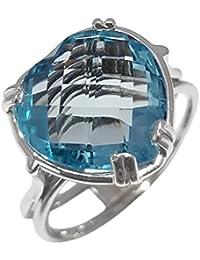 Clearance Bague Femme en Or 18 carats Blanc avec Topaze Bleu
