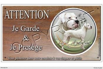 Panneau chien ou plaque Dogue-Argentin 20 cm