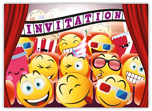 funny-birthday-invitations-pack-of-12-for-boys-girls-kids-movie-cinema-party-with-smiley-emoji-postc