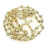 Rosario de perlas de oro bisuteria con cruz para oraciones 6mm