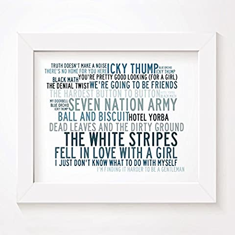 'Crystalline` Poster Affiche d'art - THE WHITE STRIPES - Edition signée et numérotée limitée typographie non encadré 20 x 25 cm la musique album mur art haute qualité d'impression - Song lyrics music poster