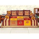 RajasthaniKart Maherab 6 Piece 144 TC Cotton Diwan Set (Red)