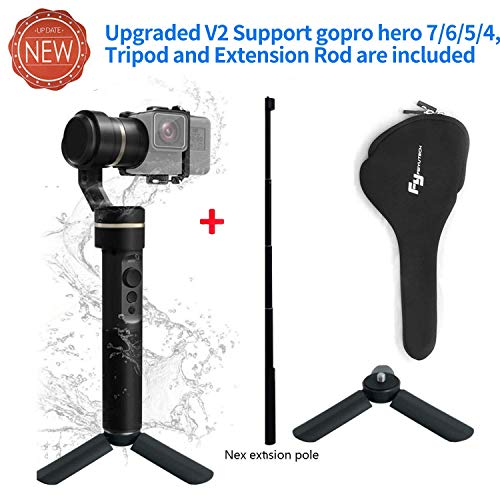 FeiyuTech G5 3-Axis Stabilized Handheld Gimbal for Gopro HERO 5/4/3+/ 3, Yi Cam 4K, AEE Sports Cams, IP67 Waterproof + (2pcs batteries and Extension Pole)