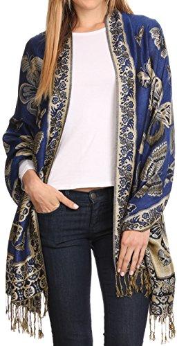 Sakkas 16126 - Liua Lange breite Gewebte Patterned Entwurf Bunt Pashmina-Schal / Schal - Royal Blue - OS