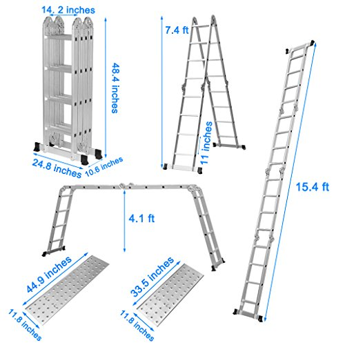 Finether 15.4 FT Extendable Aluminum Folding Ladder with Safety Locking Hinges and 2 Panels