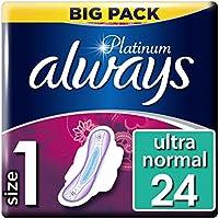 Always Platinum - Toallas sanitarias normales (tamaño 1), 4 x 24 almohadillas,