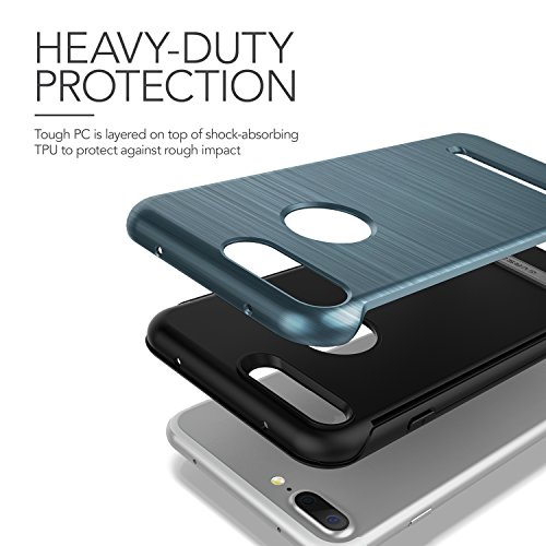 iPhone 7 Plus Hülle, VRS Design [Duo Guard Serie] Schwerlast Militärischer Schutz mit Klappständer für Apple iPhone 7 Plus 2016 - Titan Schwarz Blau
