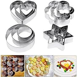 Moldes, Amison 12piezas de metal cortadores de galletas corazón estrella círculo molde en forma de flor