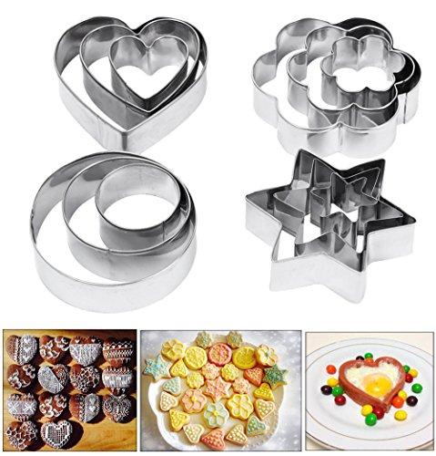 Foto de Moldes, Amison 12piezas de metal cortadores de galletas corazón estrella círculo molde en forma de flor