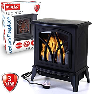 Marko Heating Lexham Electric Fireplace 2KW Fire Wood Flame Heater Stove Living Room Log Burner 2000W