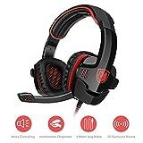 GHB Sades SA-901 7.1CH Surround Sound Stereo Headset PC Gaming Kopfhörer mit USB-Stecker und Mikrofon Rot+Schwarz - 3