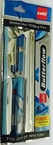 Cello butterflow Glatte Schreiben, Kugelschreiber mit Kostenlose Refill [blau] 5Stück