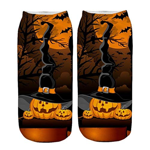 Skxinn Unisex Winter Sportsocken,Halloween Pumpkin Bedruckte Kurze Socken/Lässige Niedliche Söckchen für Frauen,Weihnachtsdruck 3D Socken(Z02-E)