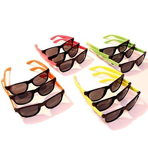 Dazzling Toys 12 Paar Wayfarer-Sonnenbrille Kids Teen Party Favors Neon 80er
