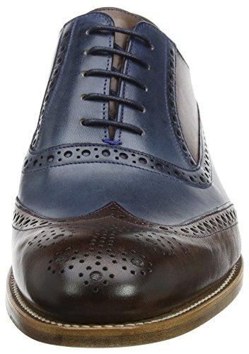 BARKER Herren Valiant Oxfords Blue (Ebony Calf/ Navy Grain)