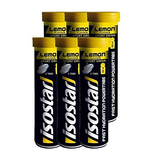 Isostar Powertabs Sportgetränk (6 Tuben mit je 10 Tabs) – Iso Drink für intensives Training – kalorienreduziertes Elektrolyte Getränk – Zitrone -
