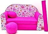 PRO COSMO H35Kinder Sofa Bett mit Puff/Fußbank/Kissen, Stoff, pink, 168x 98x 60cm