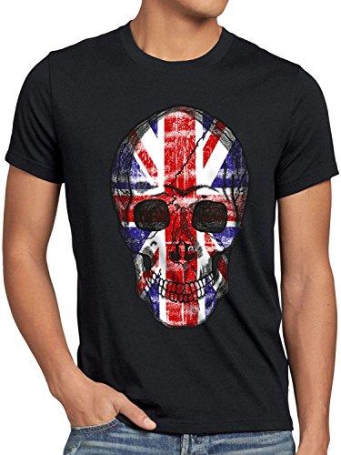 style3 Great Britain Skull Herren T-Shirt Totenkopf England Flagge Oberteil Union Jack Kostüm, Größe:XXXL, - England Kostüm Für Un