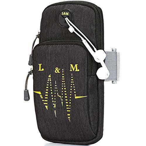 Fascia da braccio sportiva, sqmcase universal running gym workout resistente all'acqua sacchetto del braccio custodia con foro per auricolari e tasche doppie per iphone xr / xs max / x 8 plus / samsung galaxy s9 plus note 9 8 e tutto 3,5-6,5