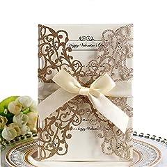 Idea Regalo - Invito a nozze,Hollow Floral Design invita Pocket Card con nastro per docce nuziali,Feste di fidanzamento, include 10 copertine,10x Blank Card interna,10x Ribbon (Glitter in oro rosa)