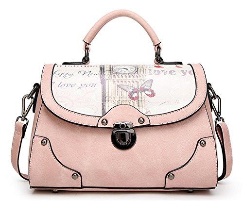 Xinmaoyuan Damen Handtaschen Handtasche drucken Retro Tasche Messenger Bag Small Square Bag, schwarz Rosa