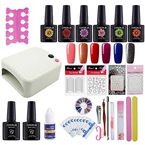 Coscelia Kit 6pc Smalto Semipermanente Trattamento Cuticole Attrezzi Unghie Manicure Pedicure