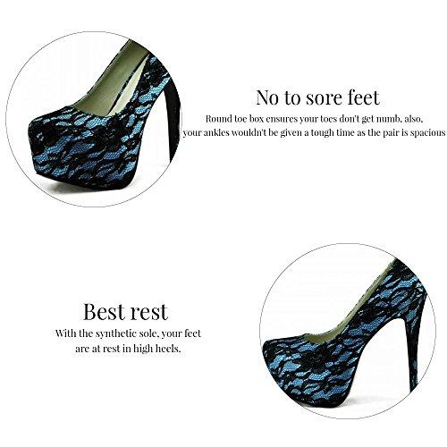 Trend Star Women Pumps Women's High Heels Platform Lace Party Pfennig new pumps Blue