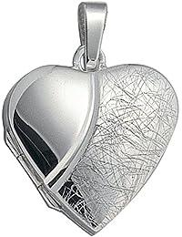 En forma de corazón en cadena-colgante/medallón de 925 plata de ley para 2 Fotos