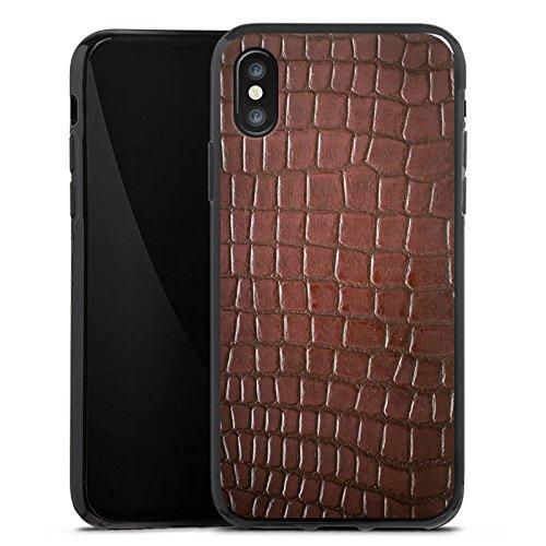 Apple iPhone X Silikon Hülle Case Schutzhülle Krokodilhaut Look Krokodil Silikon Case schwarz