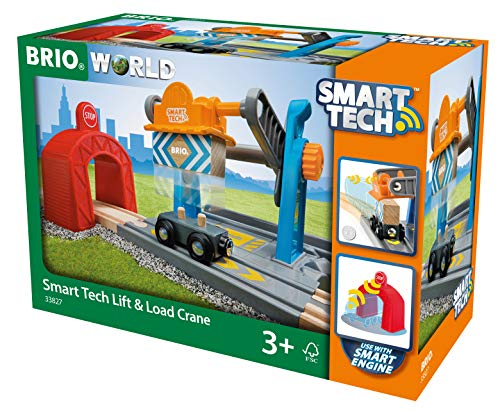 Brio World- Grue DE Chargement DE Marchandises Smart Tech, 33827, Bleu, Gris E Orange