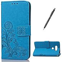 Feeltech LG G5 Bookstyle Étui en Cuir Case à Rabat Magnétique Fermeture Coque de Protection avec Porte Carte et Stand, Ultra Slim Portefeuille Motif Case Cover pour LG G5 - Trèfle-Bleu
