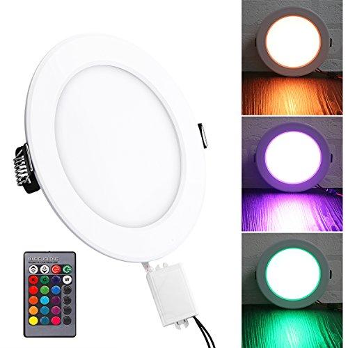 5W RGB LED Instrumententafel-Leuchte, ABEDOE Fernbedienung Ultra Slim LED Runde vertiefte Deckenleuchte Unterstützung Power-Off-Speicher-Funktion mit LED-Treiber (Flash-speicher-unterstützung)