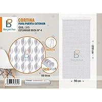 BAI PIN HUI (COD.315) Cortina para puerta exterior, Modelo IBIZA, 60 tiras, Color: BLANCO, Materiales: plástico y aluminio, Tamaño: 90 x 210 cm