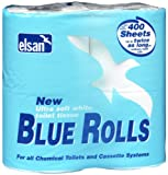 Elsan - Rotoli di carta igienica, confezione da 4 pezzi per 400 fogli, colore: Blu
