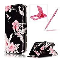 For iPhone 6S Case,For iPhone 6 Leather Cover,Herzzer Stylish Elegant [Azalea Pattern] Book Style Premium PU Leather Wallet Deisgn with Card Holder Slots Magnetic Closure Smart Stand with Inner Soft Rubber Bumper Full Body Protective Case Cover for iPhone