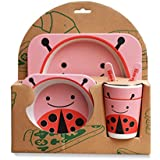 PPD 100% Safe Animal Print Kids Dinner Set | Eco Friendly 100% Natural Bamboo Fibre Set Of 5 Pieces. - B074SG2SDP