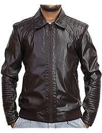 BBGJ brown colour pu bomber leather jacket for men by Bareskin/Slim fit pu leather jacket for men/designer jacket for men/branded jacket for men