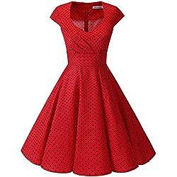 Bbonlinedress Vestido Corto Mujer Retro Años 50 Vintage Escote En Pico Red Small Black Dot 3XL