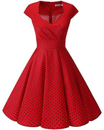 bbonlinedress 1950er Vintage Retro Cocktailkleid Rockabilly V-Ausschnitt Faltenrock Red Small Black Dot S -