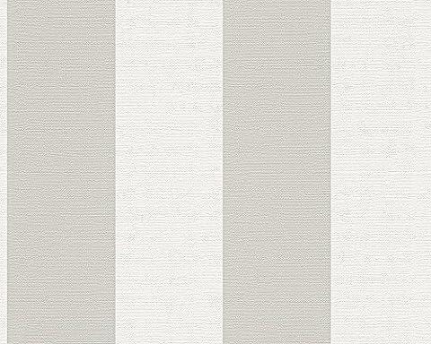Schöner Wohnen Vliestapete Tapete Blockstreifentapete 10,05 m x 0,53 m braun weiß Made in Germany 304103