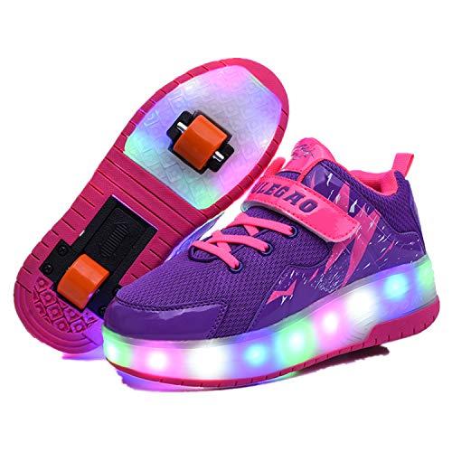 Wasnton Kinderschuhe LED Roller Skate Schuhe Rollen Schuhe Sportschuhe Laufschuhe Kinder Jungen M?dchen mit 2 R?dern Sneakers f¨¹r Kinder Jugend Roller Sneakers (Roller Frühling Rad)