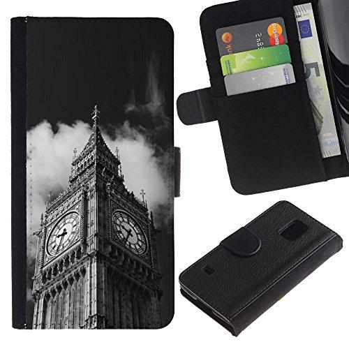 LeCase - Samsung Galaxy S5 V SM-G900 - Architecture Big Ben Close Up London - U Cuoio Custodia Portafoglio Snello caso copertura Shell armatura Case Cover Wallet Credit Card