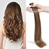 Extension Cheveux Naturel a Froid 100 Mèches #06 Châtain clair - Pre Bonded I Tip 100% Remy Human Hair Extensions - 45cm 50g
