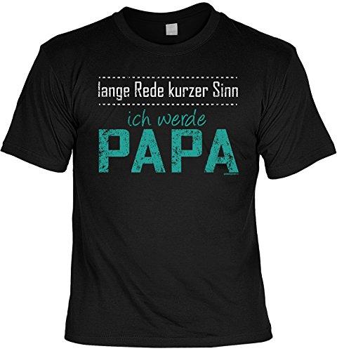 T-Shirt für werdende Väter zur Geburtsvorbereitung lange Rede kurzer Sinn ICH WERDE PAPA Print Geschenke Idee in schwarz Gr: M : )