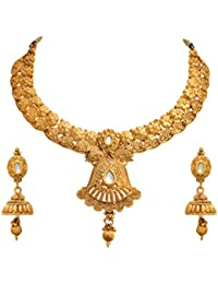 JFL - Traditional Ethnic One Gram Gold Plated Kundan Designer Necklace Set For Women.